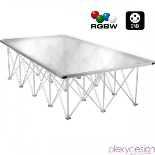 Piano di Calpestio in plexiglass 2x1 Satinato RGBW per DMX